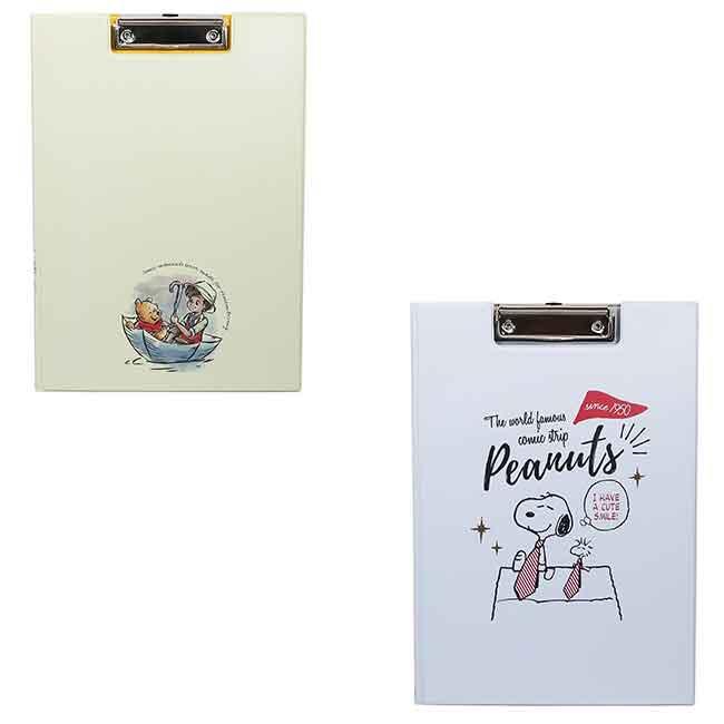 迪士尼 小熊維尼 Snoopy 對開式版夾 文具 兩款 日本進口