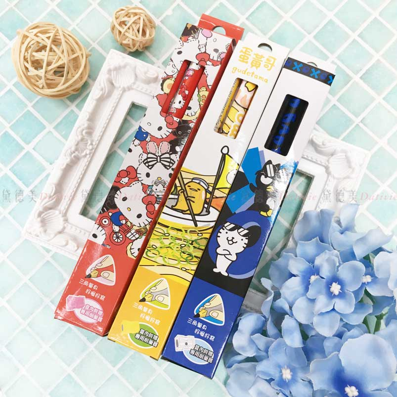 HB鉛筆3入 三麗鷗 Hello Kitty 酷企鵝 蛋黃哥 學齡鉛筆 正版授權