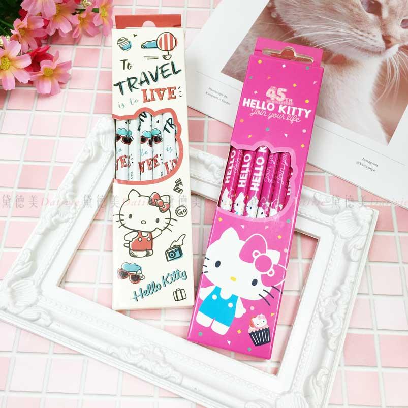 三角木頭鉛筆12入 三麗鷗 Hello Kitty 凱蒂貓 KT貓 可削式鉛筆 正版授權
