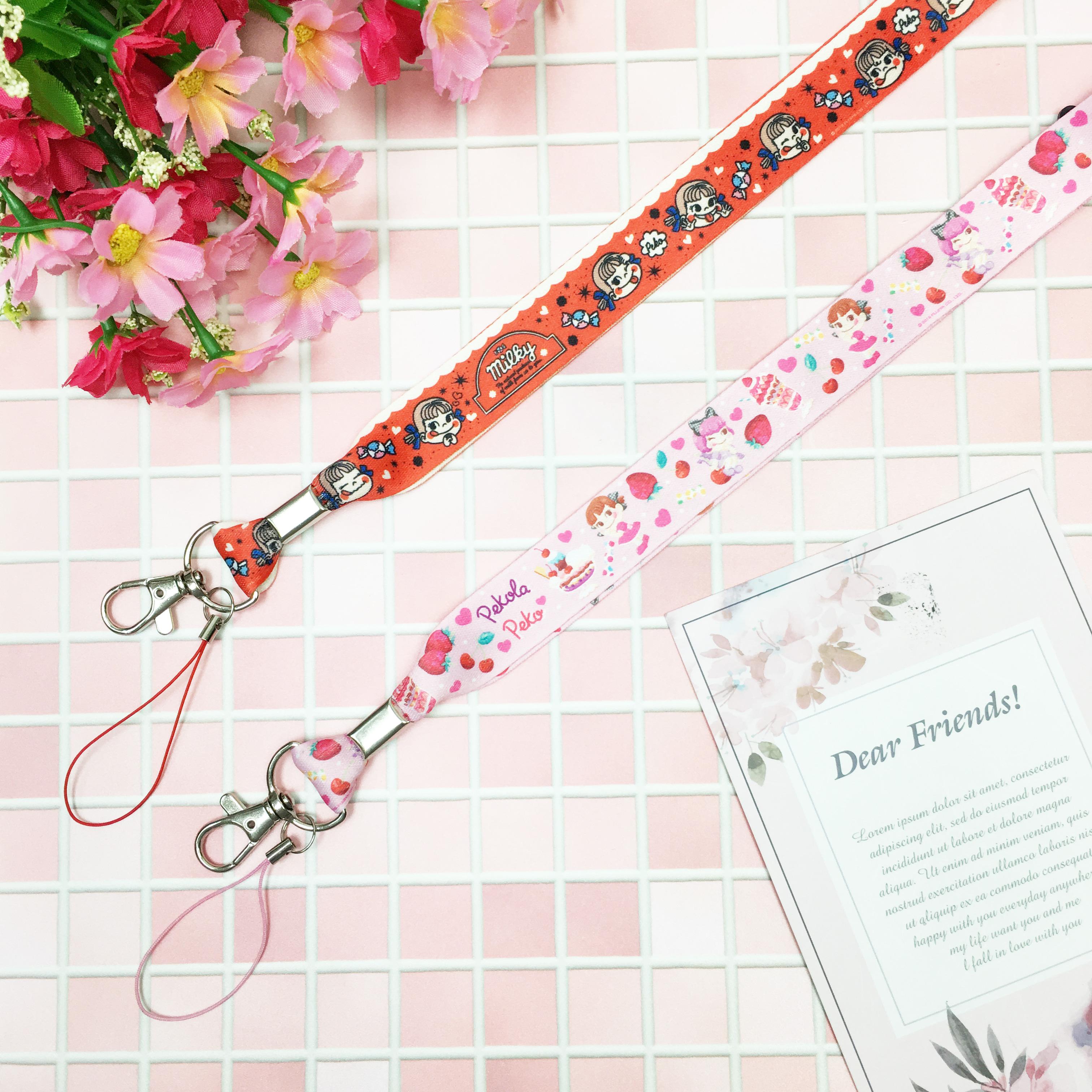識別織帶 不二家 牛奶妹 紅 粉 票卡套帶 正版授權日本進口