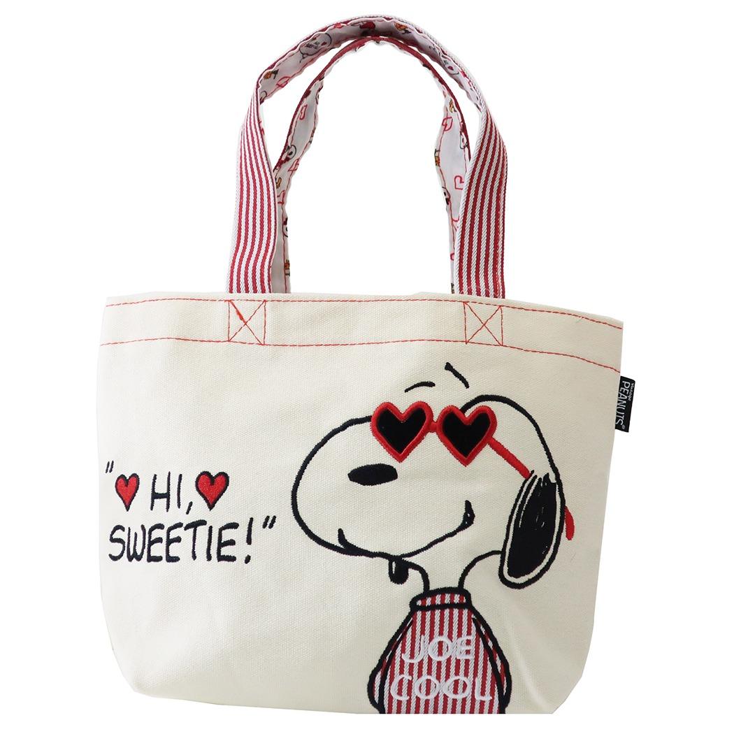 手提袋 SNOOPY 史努比 愛心 帆布 小提袋 便當袋 包包 正版授權日本進口