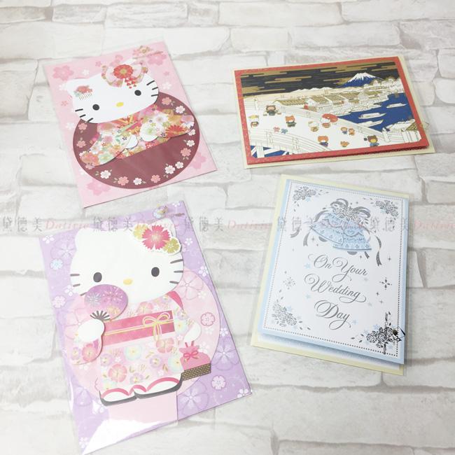 卡片 KITTY 三麗鷗 和服 冬天 萬用卡 造型卡 四款 正版授權