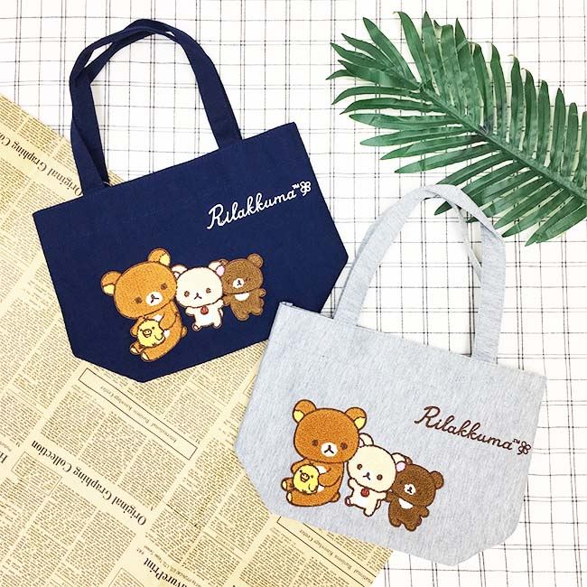 手提袋 SAN-X 懶懶熊 藍 灰 刺繡 正版授權