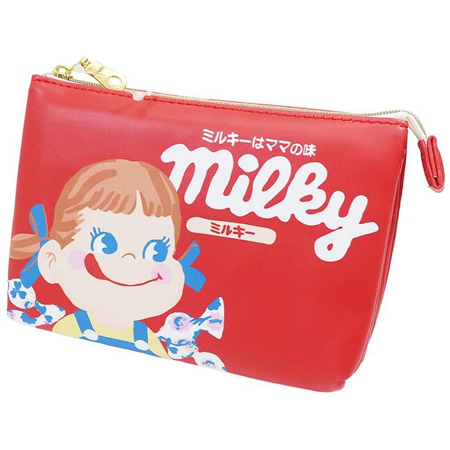 雙層收納包 不二家 牛奶妹 化妝包 收納包 隨身包 日本進口正版授權