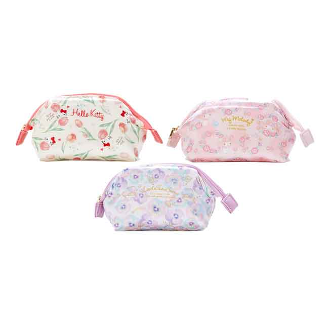 三麗鷗 緞面收納包  化妝包 收納 小物 三款 日本進口