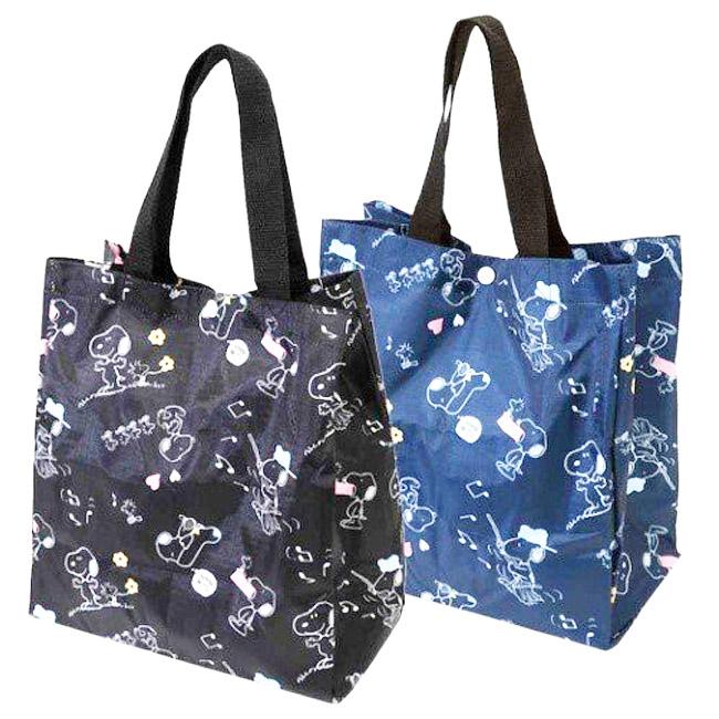 手提袋 史努比 黑 藍 環保 日本進口正版授權