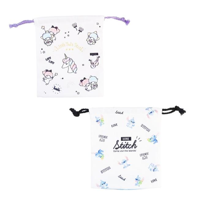 束口袋 三麗鷗 雙子星 迪士尼 史迪奇 漱口收納袋 日本進口正版授權