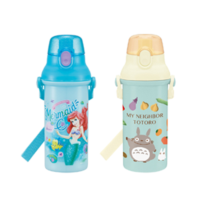 水壺 日本 迪士尼 小美人魚 宮崎駿 龍貓 附背袋 直式 480ml 日本進口正版授權