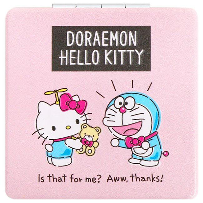 皮革輕巧玻璃鏡 三麗鷗 Hello Kitty 哆啦A夢 聯名款 隨身鏡 日本進口正版授權