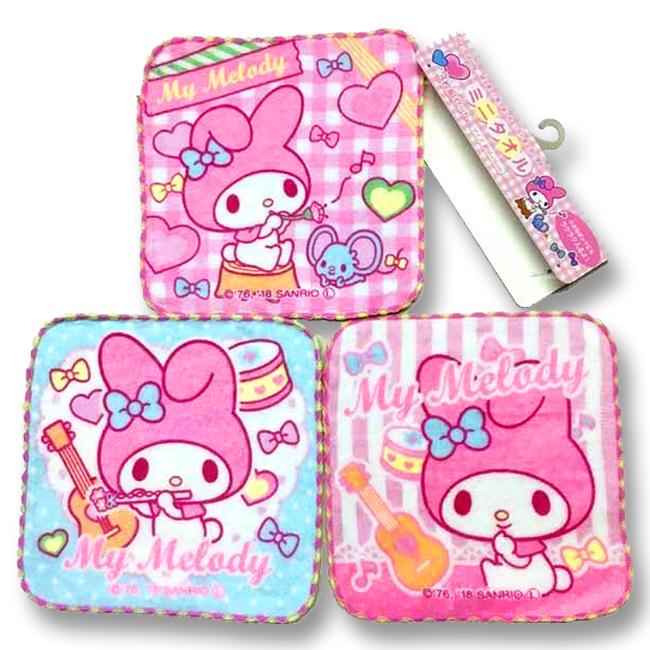 方巾 三麗鷗 美樂蒂 Melody 3入組 小方巾 日本進口正版授權