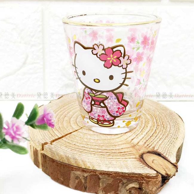 小玻璃杯 三麗鷗 Hello Kitty 凱蒂貓 KT 透明 和服櫻花杯 日本進口正版授權