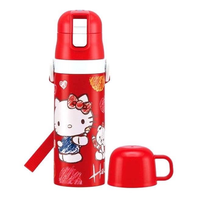 不鏽鋼兒童運動水壺 三麗鷗 Hello Kitty 凱蒂貓 470ml 輕量保溫保冷水壺 日本進口正版授權
