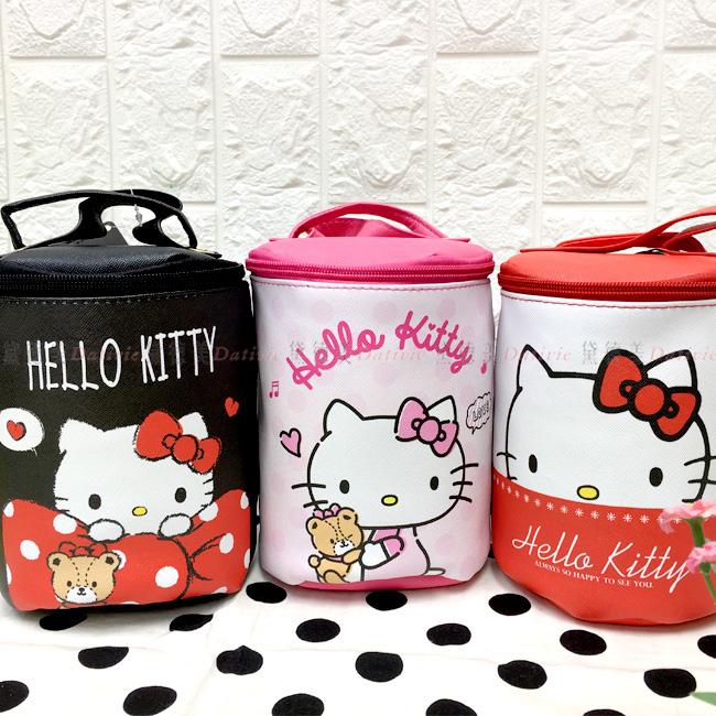 圓筒側背包 三麗鷗 Hello Kitty 凱蒂貓 KT 拉鍊圓筒包包 正版授權