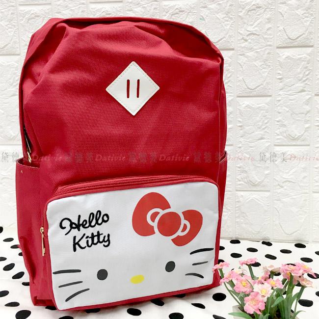 後背筆電背包 三麗鷗 Hello Kitty 凱蒂貓 KT 拉鍊雙肩後背包 正版授權