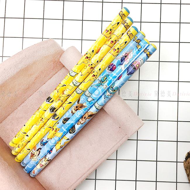 木頭鉛筆 寶可夢精靈 6入 文具 可削式鉛筆 正版授權
