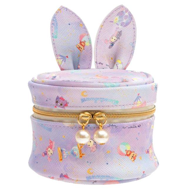 造型耳朵皮質圓形飾品收納包 SAN-X 憂傷馬戲團 收納包 圓筒 sentimental circus 日本進口正版授權