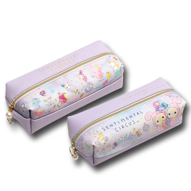 皮質雙層拉鍊筆袋 SAN-X 憂傷馬戲團 鉛筆盒 sentimental circus 日本進口正版授權