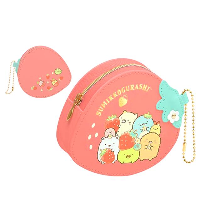 草莓造型皮質吊飾零錢包 SAN-X 角落生物 角落小夥伴 零錢包 日本進口正版授權