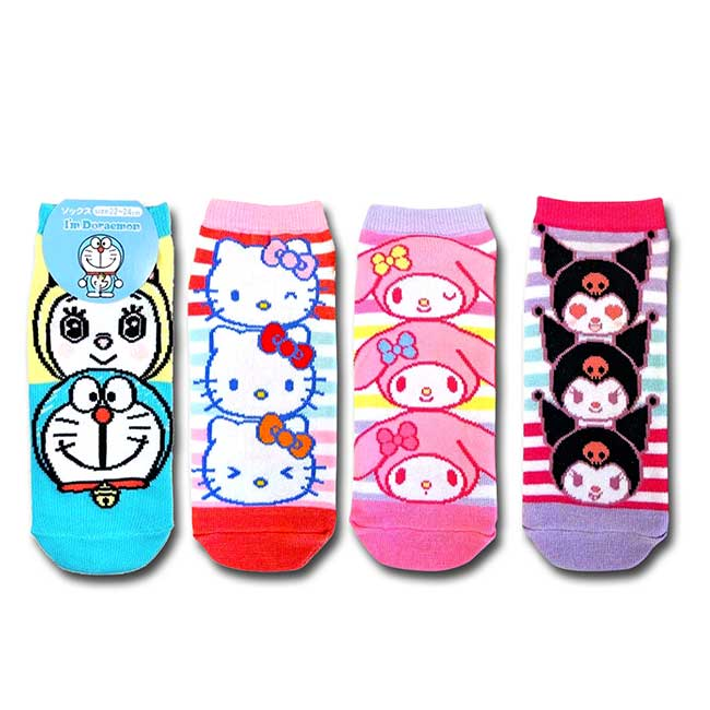 卡通直版襪 三麗鷗 Hello Kitty 美樂蒂 酷洛米 哆啦A夢 襪子 日本進口正版授權
