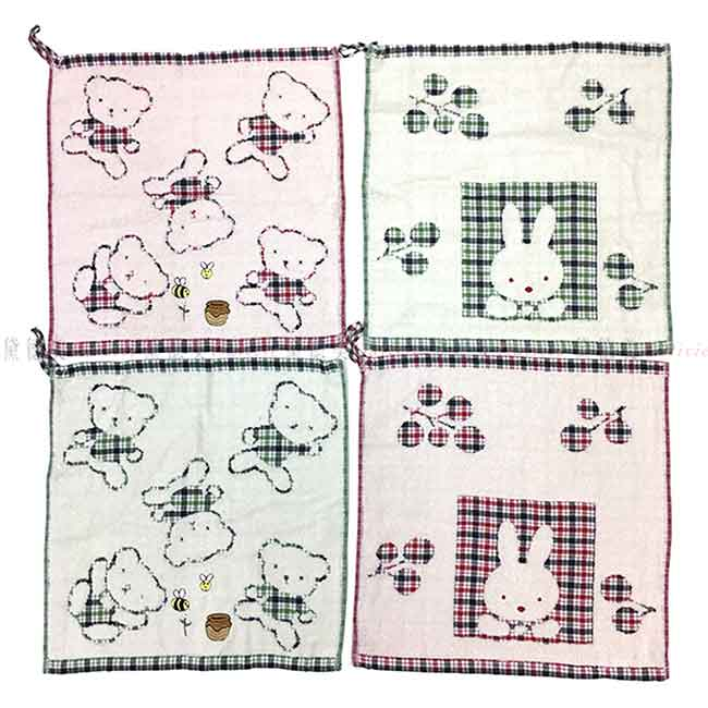 純棉吊掛擦手巾 熊熊 兔子 格紋 4款