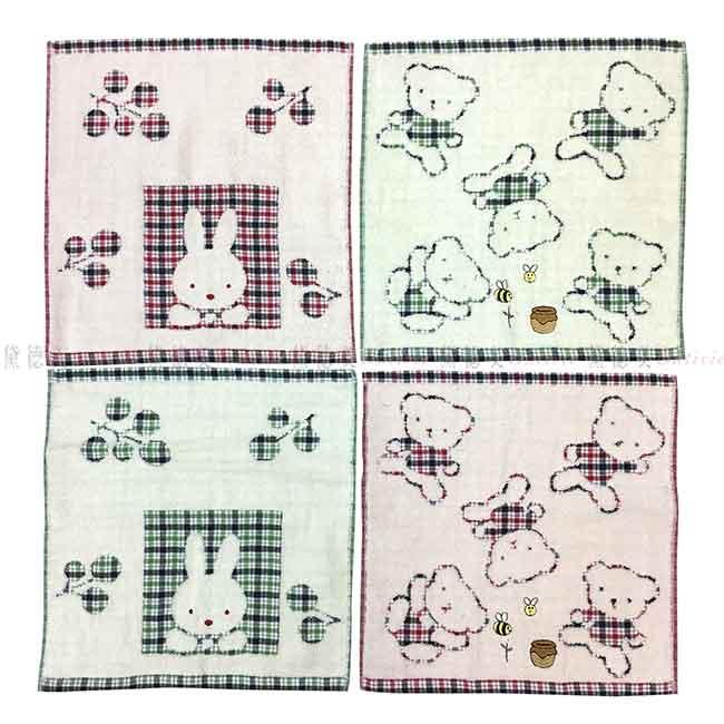 純棉方巾 熊熊 兔子 格紋 4款 毛巾
