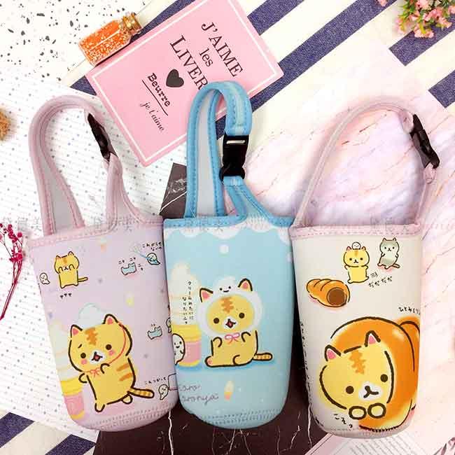 潛水布水壺袋 SAN-X 捲捲麵包貓 3款 水瓶提袋 正版授權