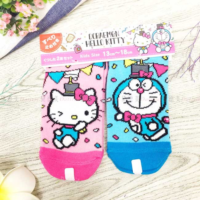 派對直版襪 三麗鷗 Kitty 哆啦A夢 KIDS 13-18cm 兒童襪子 日本進口正版授權