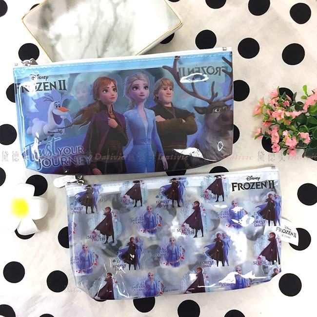 透明三角筆袋 迪士尼 冰雪奇緣2 藍色 白色 兩款 正版授權