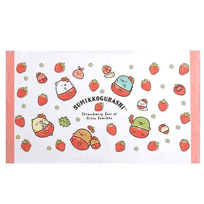 與草莓共舞純棉浴巾 SAN-X 角落生物 75x130cm 長浴巾 日本進口正版授權