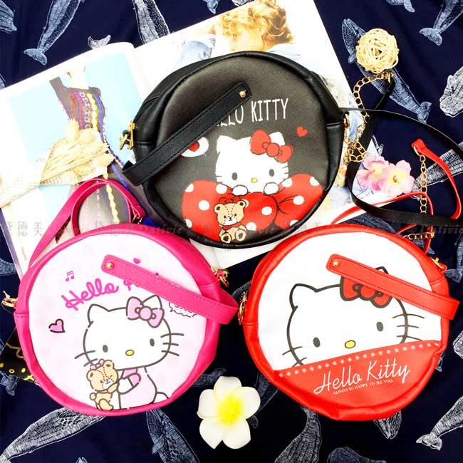 側背包 三麗鷗 Hello Kitty 圓形 3款 拉鍊側背包 正版授權