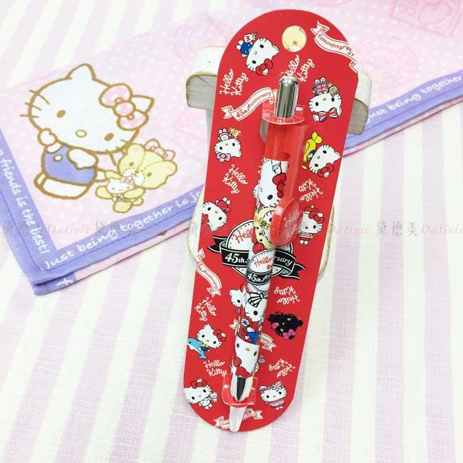 圓型筆夾自動中油筆 三麗鷗 Hello Kitty 凱蒂貓 油性原子筆 正版授權