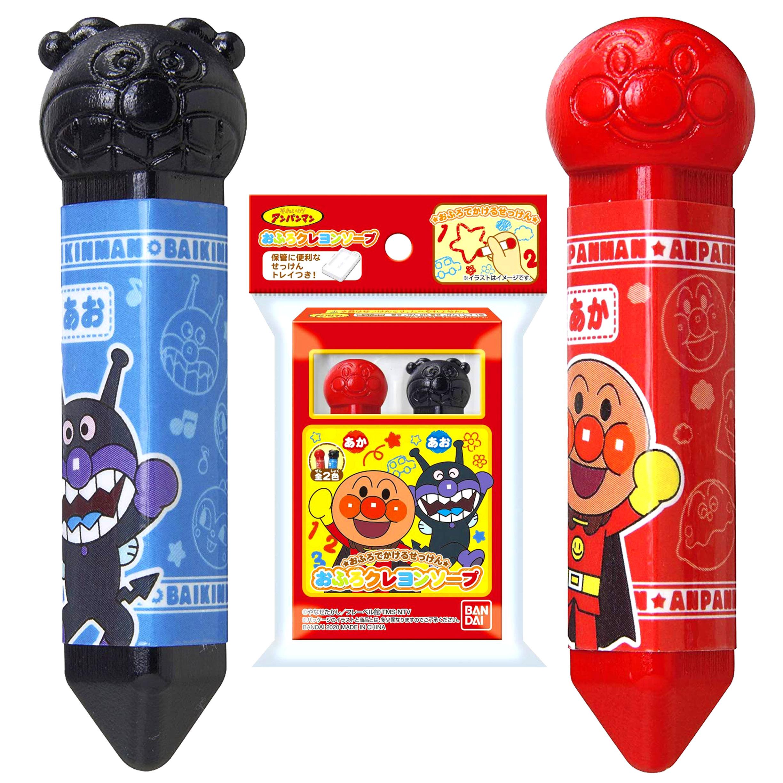 防水蠟筆組(2入)-麵包超人 塗鴨筆 彩繪筆 洗澡蠟筆 防水蠟筆 BANDAI 日本進口