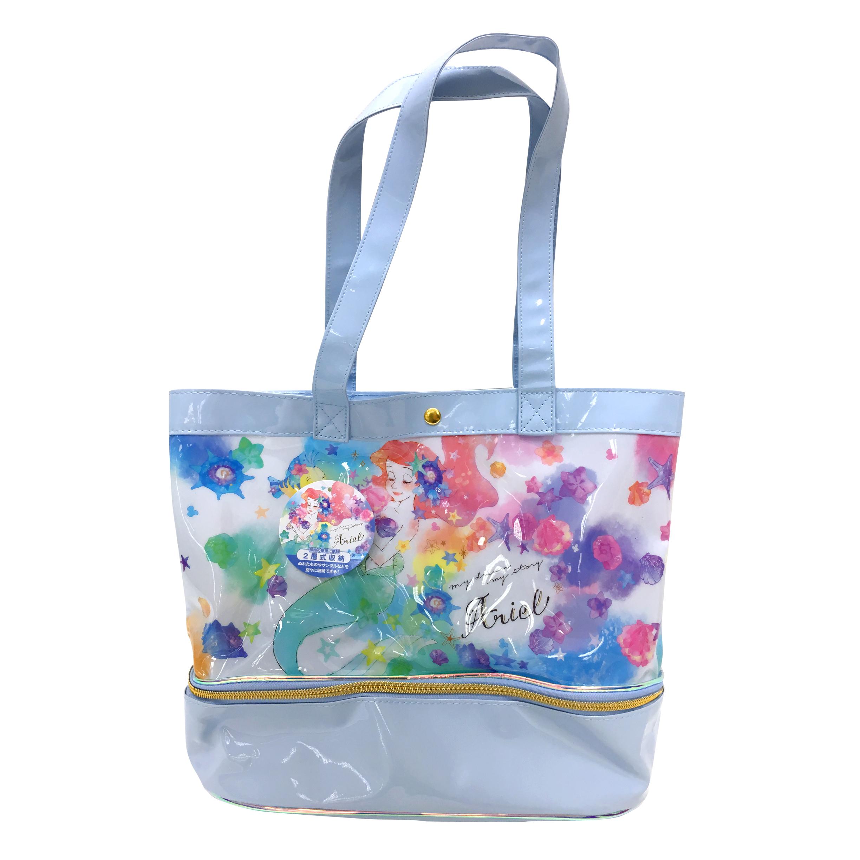 兩層式防潑水側背袋 迪士尼 小美人魚 愛麗兒 雙層 透明 游泳袋 海灘袋 水桶袋 側背袋 防水提袋 日本進口正版授權