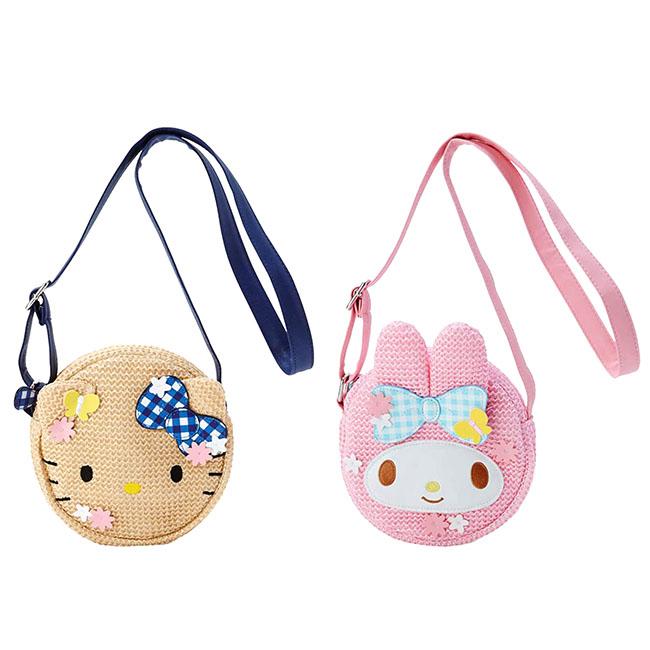 籐編圓形斜背包 三麗鷗 KITTY 凱蒂貓 美樂蒂 側背包 日本進口正版授權