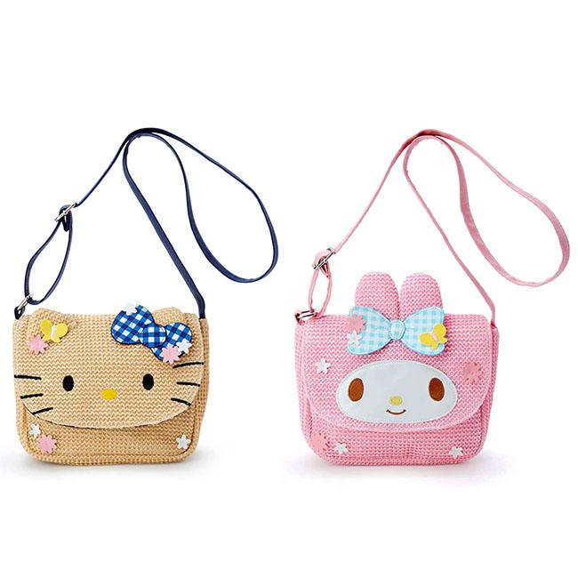 編織斜背磁扣方包 三麗鷗 凱蒂貓 美樂蒂 斜背包 日本進口正版授權