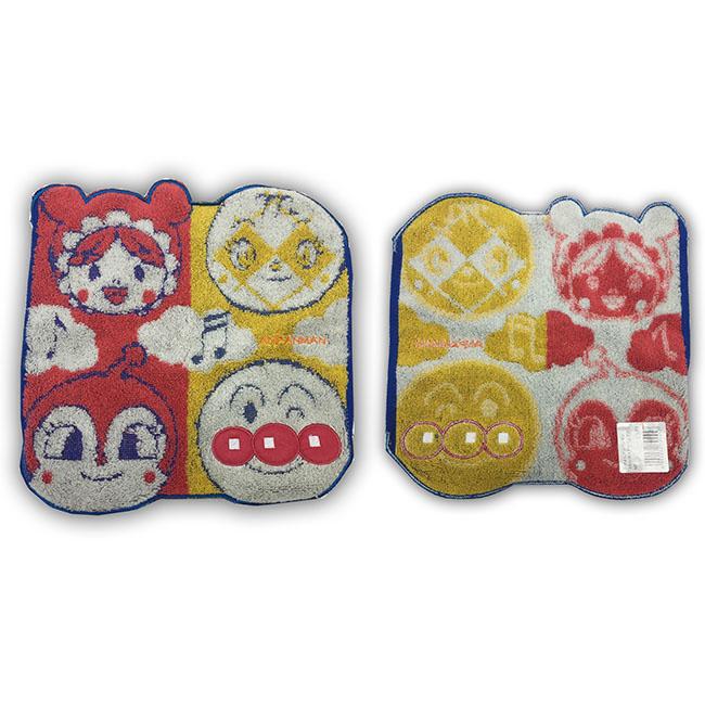 小方巾 麵包超人 造型 純棉 無捻紗 紅黃 角色大臉 日本進口正版授權