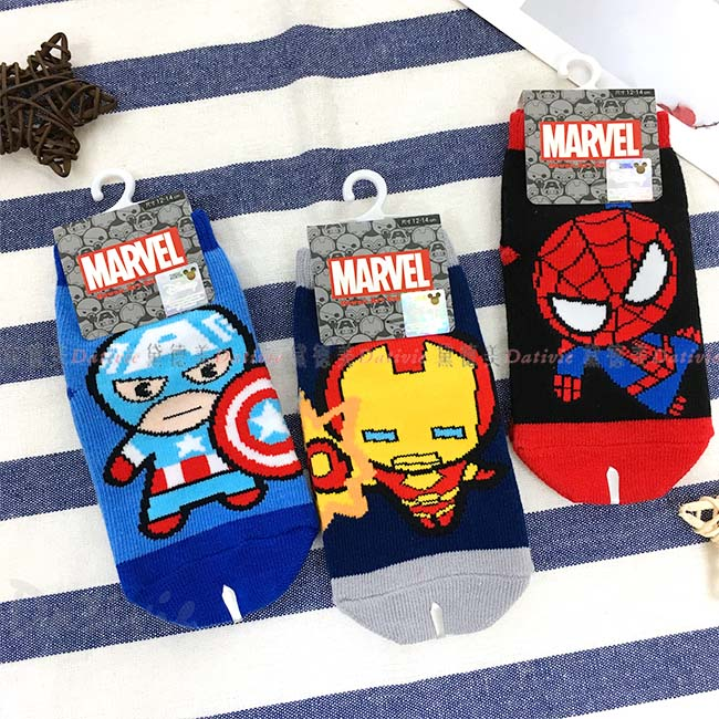 直版襪 漫威 復仇者聯盟 美國隊長 鋼鐵人 蜘蛛人 12~14cm 襪子 卡通襪 正版授權