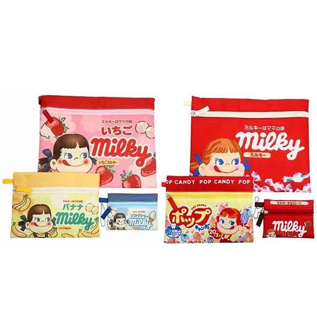 收納扁袋 不二家 PEKO MILKY 3入組 拉鍊收納袋 日本進口正版授權