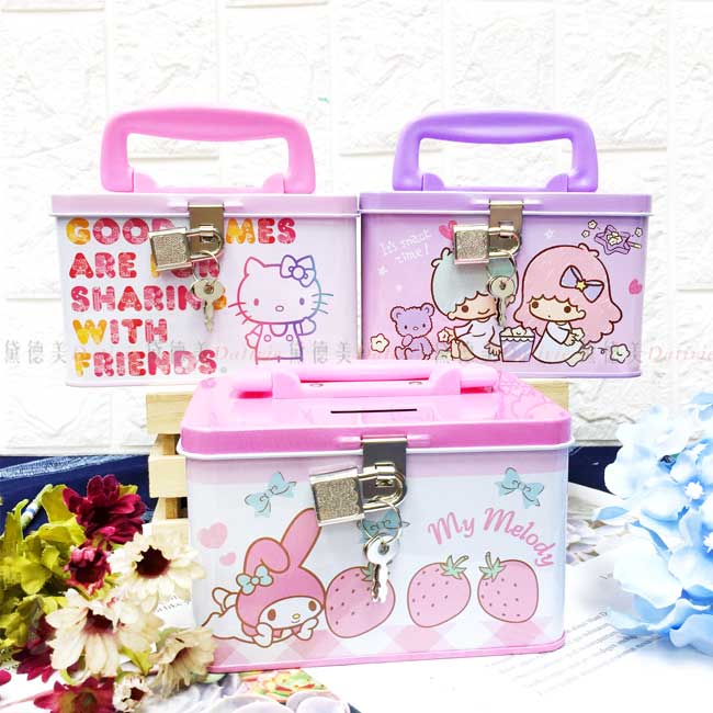 手提四方存錢筒 三麗鷗 Hello Kitty 雙子星 美樂蒂 附鎖存錢筒 正版授權