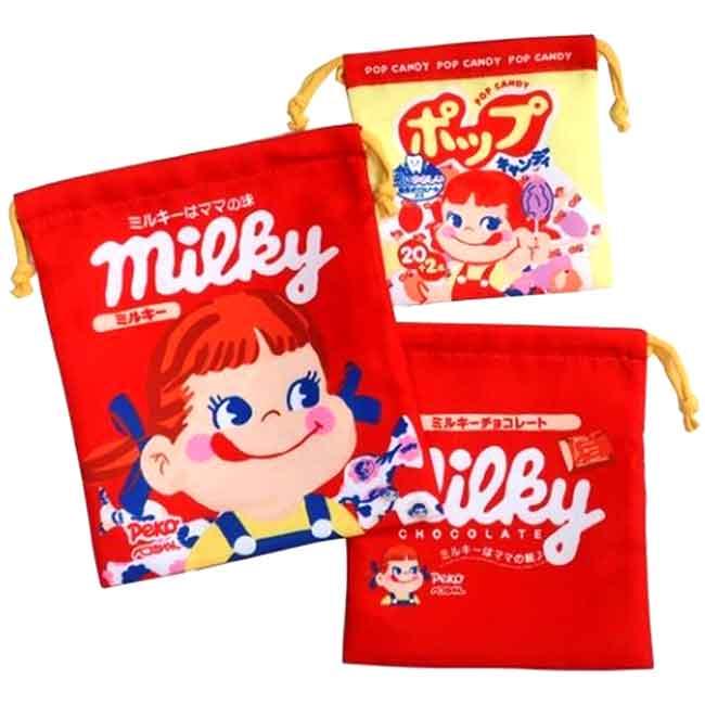 縮口袋組(3入) 三麗鷗 不二家 PEKO MILKY 束口袋 日本進口正版授權