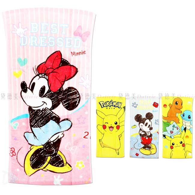 紗布童巾 迪士尼 米奇 米妮 寶可夢 皮卡丘 毛巾 正版授權