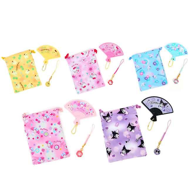 日式和風扇形鏡吊飾 三麗鷗 KT 大耳狗 酷洛米 美樂蒂 鏡子吊飾束口袋組 日本進口正版授權