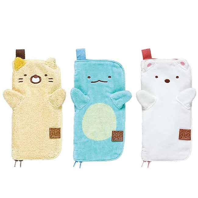 毛巾袋 SAN-X 角落生物 貓咪 蜥蜴 白熊 拉鍊收納袋 日本進口正版授權