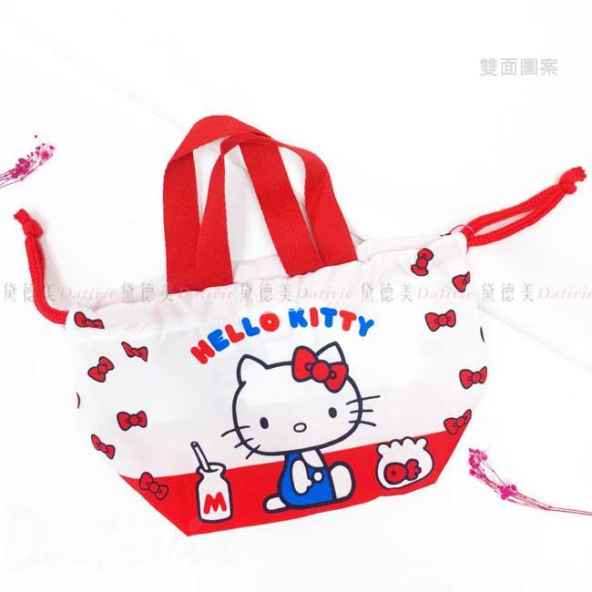 棉質束口便當袋 三麗鷗 Sanrio 凱蒂貓 KT 束口收納袋 日本進口正版授權