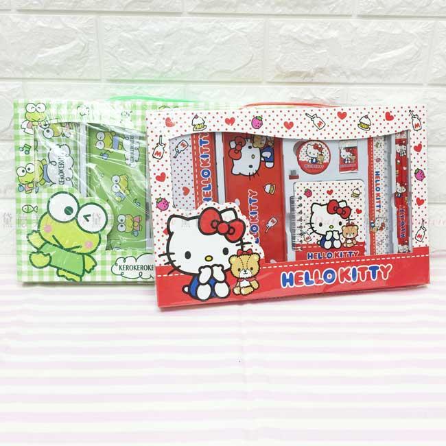 鐵筆盒7件文具禮盒 三麗鷗 Kitty 大眼蛙 文具組 正版授權