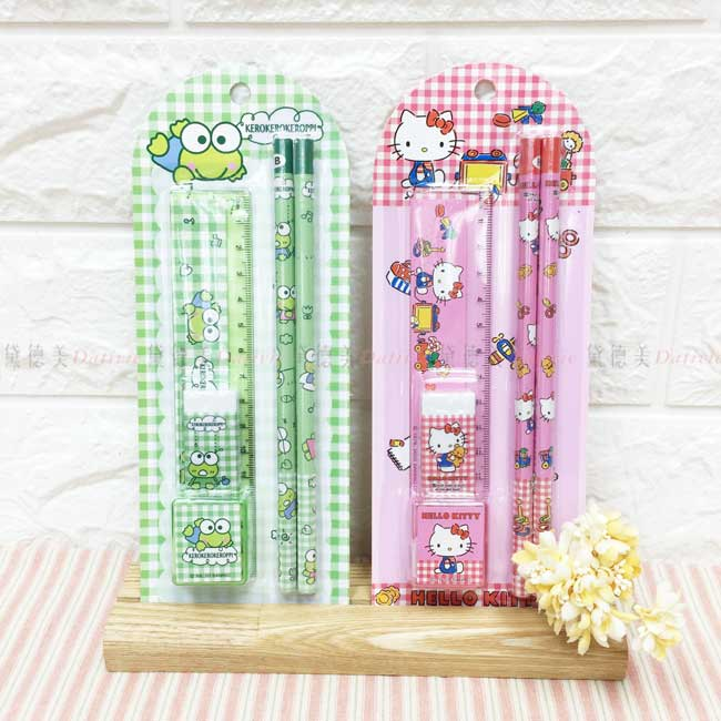 5件文具組卡裝 三麗鷗 Kitty 大眼蛙 鉛筆文具組 正版授權
