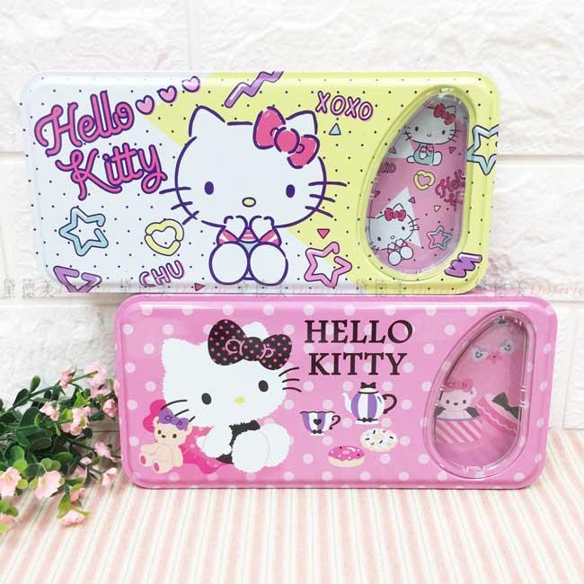 開窗大型鐵筆盒 三麗鷗 Hello Kitty 雙層筆盒 正版授權