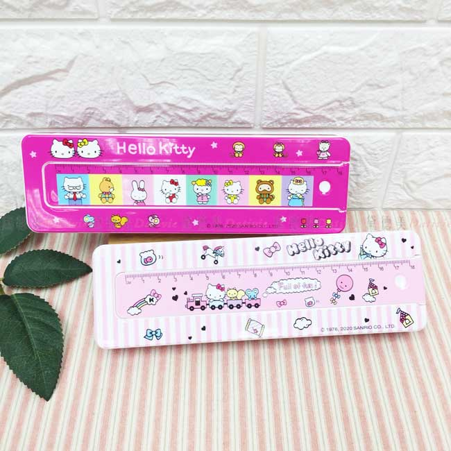 附尺塑膠筆盒 三麗鷗 Hello Kitty 活動尺 單層筆盒 正版授權