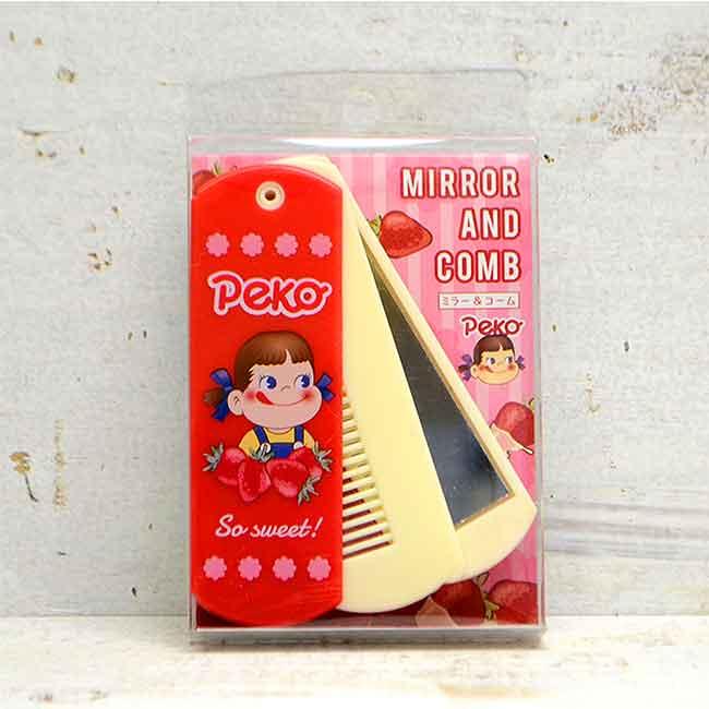 塑膠折疊隨身鏡梳 三麗鷗 不二家 PEKO 鏡梳組 日本進口正版授權