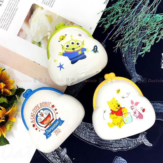 口金包造型陶瓷存錢筒 迪士尼 三眼怪 哆啦A夢 小熊維尼 3款 存錢筒 儲錢筒 小費箱 正版授權